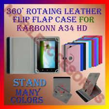 """ACM-ROTATING 360° LEATHER FLIP STAND COVER 7"""" CASE for KARBONN A34 HD TABLET NEW"""