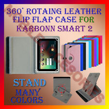 "ACM-ROTATING 360° LEATHER FLIP STAND COVER 7"" CASE for KARBONN SMART 2 TABLET"