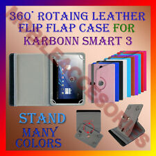 "ACM-ROTATING 360° LEATHER FLIP STAND COVER 7"" CASE for KARBONN SMART 3 HOLDER"