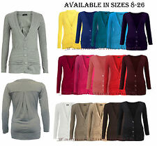 NEW LADIES BUTTON UP CARDIGAN WOMENS BOYFRIEND CARDIGAN TOP LONG SLEEVE JUMPER