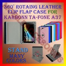 "ACM-ROTATING 360° LEATHER FLIP STAND COVER 7"" CASE for KARBONN TA-FONE A37 TAB"