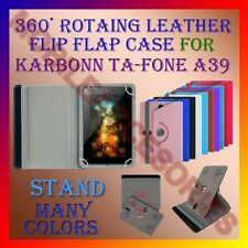 "ACM-ROTATING 360° LEATHER FLIP STAND COVER 7"" CASE for KARBONN TA-FONE A39 TAB"