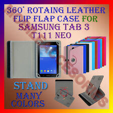 "ACM-ROTATING 360° LEATHER FLIP STAND COVER 7"" CASE for SAMSUNG TAB 3 T111 NEO"