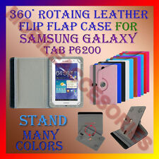 "ACM-ROTATING 360° LEATHER FLIP STAND COVER 7"" CASE for SAMSUNG TAB P6200 TABLET"