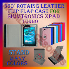 """ACM-ROTATING 360° LEATHER FLIP STAND COVER 7"""" CASE for SIMMTRONICS XPAD TURBO"""