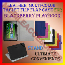"""ACM-LEATHER FLIP FLAP MULTI-COLOR 7"""" COVER & STAND for BLACKBERRY PLAYBOOK TAB"""