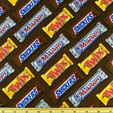 Sale Chocolate Candy Bars Snickers Twix 3 Musketeers 100% Cotton Fabric
