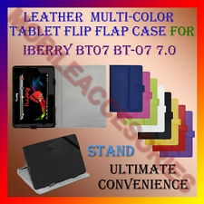"ACM-LEATHER FLIP FLAP MULTI-COLOR 7"" COVER & STAND for IBERRY BT07 BT-07 7.0 TAB"