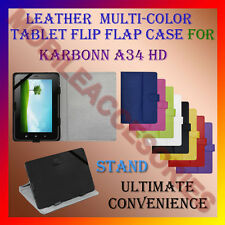 "ACM-LEATHER FLIP FLAP MULTI-COLOR 7"" COVER & STAND for KARBONN TA-FONE A34 TAB"