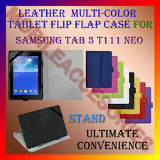 """ACM-LEATHER FLIP FLAP MULTI-COLOR 7"""" COVER & STAND for SAMSUNG 3 T111 NEO TABLET"""
