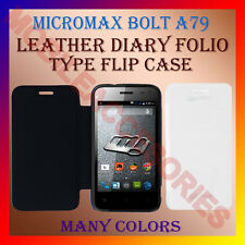 ACM-LEATHER DIARY FOLIO FLIP CASE for MICROMAX BOLT A79 MOBILE FRONT/BACK COVER