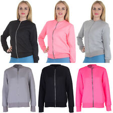 Ladies Jacket Womens Quilted Zipped Bomber Long Sleeve Causal Warm Winter Coat M