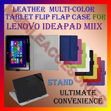 """ACM-LEATHER FLIP FLAP MULTI-COLOR 10"""" COVER & STAND for LENOVO IDEAPAD MIIX CASE"""