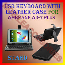 """ACM-USB KEYBOARD 7"""" CASE for AMBRANE A3-7 PLUS TABLET LEATHER COVER STAND HOLDER"""