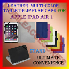 """ACM-LEATHER FLIP MULTI-COLOR 10"""" COVER CASE STAND for APPLE IPAD AIR 1 TABLET"""