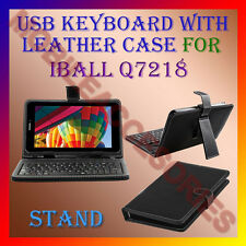 "ACM-USB KEYBOARD 7"" CASE for IBALL Q7218 TABLET LEATHER COVER STAND HOLDER FLAP"