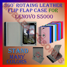 "ACM-ROTATING 360° LEATHER FLIP STAND COVER 7"" CASE for LENOVO S5000 TABLET TAB"