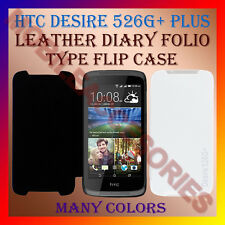 ACM-LEATHER DIARY FOLIO FLIP CASE for HTC DESIRE 526G+ PLUS MOBILE FRONT BACK