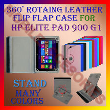 """ACM-ROTATING 360° LEATHER FLIP STAND COVER 10"""" CASE for HP ELITE PAD 900 G1 TAB"""