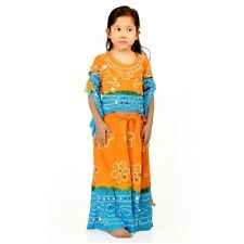Jaipuri Orange Turquoise Girl Traditional Bandhej Lehnga Choli Set EIDLI4GED115B