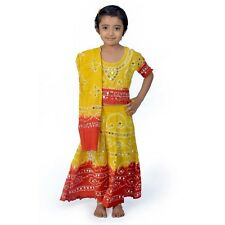 Jaipuri Traditional Bandhej Design Red Yellow Lehenga Choli Dress EIDLI4GED119A