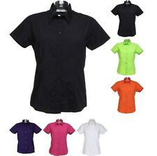 Ladies Women Kustom Kit Workforce Blouse Short Sleeve Poly Cotton Shirt