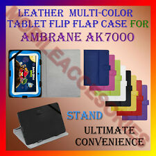 """ACM-LEATHER FLIP MULTI-COLOR 7"""" COVER CASE STAND for AMBRANE AK7000 TABLET TAB"""