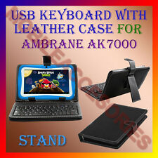 "ACM-USB KEYBOARD 7"" CASE for AMBRANE AK7000 TABLET LEATHER COVER STAND HOLDER"