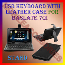 "ACM-USB KEYBOARD 7"" CASE for BASLATE 7QI TABLET LEATHER COVER STAND HOLDER NEW"