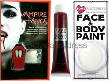 VAMPIRE FANGS PUTTY FAKE BLOOD WHITE FACE PAINT HALLOWEEN FANCY DRESS DRACULA