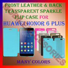 ACM-FRONT LEATHER BACK TRANSPARENT SPARKLE CASE for HUAWEI HONOR 6 PLUS COVER