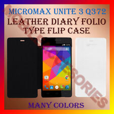 ACM-LEATHER DIARY FOLIO FLIP FLAP CASE For MICROMAX UNITE 3 Q372 MOBILE COVER