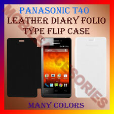 ACM-LEATHER DIARY FOLIO FLIP FLAP CASE For PANASONIC T40 MOBILE FRONT/BACK COVER