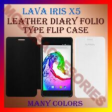 ACM-LEATHER DIARY FOLIO FLIP FLAP CASE of LAVA IRIS X5 MOBILE FRONT/BACK COVER