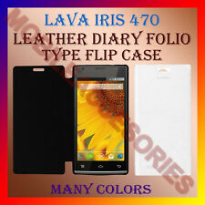 ACM-LEATHER DIARY FOLIO FLIP FLAP CASE for LAVA IRIS 470 MOBILE FRONT/BACK COVER