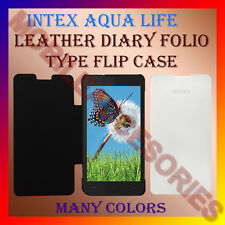ACM-LEATHER DIARY FOLIO FLIP CASE for INTEX AQUA LIFE MOBILE FRONT & BACK COVER