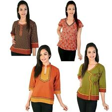 Pack of 4 Printed Ethnic Wear Colorful Jaipuri Cotton Kurti Tops EI5COMB545