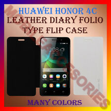 ACM-LEATHER DIARY FOLIO FLIP CASE COVER for HUAWEI HONOR 4C MOBILE FRONT & BACK