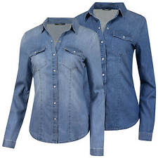 ONLY Jeans Damen Bluse Jeans Hemd Used Waschung Damenbluse Jeanshemd