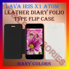 ACM-LEATHER DIARY FOLIO FLIP CASE for LAVA IRIS X1 ATOM MOBILE FRONT/BACK COVER