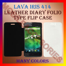 ACM-LEATHER DIARY FOLIO FLIP FLAP CASE for LAVA IRIS 414 MOBILE FRONT/BACK COVER