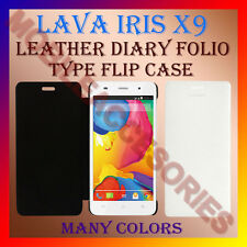 ACM-LEATHER DIARY FOLIO FLIP FLAP CASE for LAVA IRIS X9 MOBILE FRONT&BACK COVER