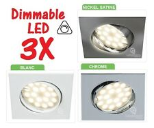 3 X SPOT ENCASTRABLE LED CARRE ORIENTABLE 230V DIMMABLE 5W = 50W HALOGENE