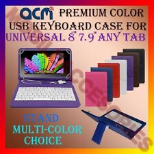 "ACM-USB COLOR KEYBOARD 8"" CASE for UNIVERSAL 8"" 7.9"" ANY TAB LEATHER COVER STAND"