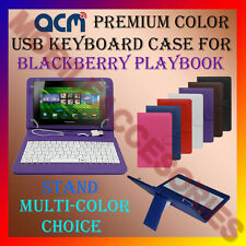 "ACM-USB COLOR KEYBOARD 7"" CASE for BLACKBERRY PLAYBOOK TAB LEATHER COVER STAND"