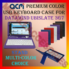 "ACM-USB COLOR KEYBOARD 7"" CASE for DATAWIND UBISLATE 3G7 LEATHER COVER STAND NEW"