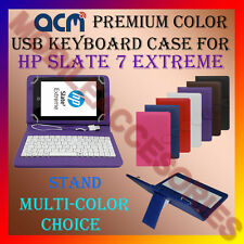 "ACM-USB COLOR KEYBOARD 7"" CASE for HP SLATE 7 EXTREME TABLET LEATHER COVER STAND"