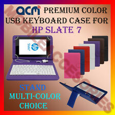 """ACM-USB COLOR KEYBOARD 7"""" CASE for HP SLATE 7 TABLET LEATHER COVER STAND FLIP"""
