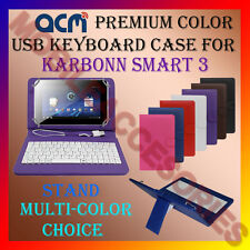 "ACM-USB COLOR KEYBOARD 7"" CASE for KARBONN SMART 3 TABLET  LEATHER COVER STAND"
