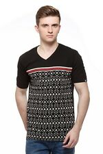 Fasnoya Black V-Neck T-Shirt (vts16) For Men